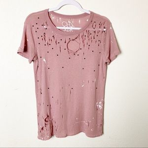 Chaser Paint Splatter Distressed Tee XS